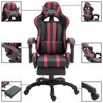 Gamingstoel / Bureaustoel met voetensteun - Wijnrood / Zwart