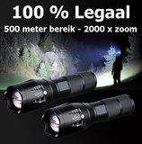 Militaire zaklamp met 500 meter bereik en zoom_