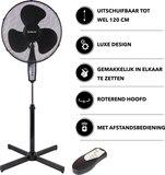 Luxe statiefventilator met afstandsbediening - 40 cm - Hoogte instelbaar tot 120 cm. - Zwart_