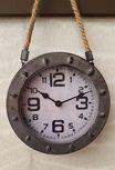 Stoere Wandklok metaal met touw grijs 20 cm