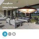 Design metalen patioverwarming | Met plafondmontage dmv solide ketting| 2000 W | IP24 - Zwart