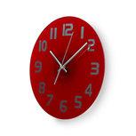 Ronde wandklok   Diameter 30 cm   Eenvoudig te lezen cijfers   Helder-rood