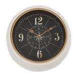 Zeer bijzondere metalen kompas-wandklok - Crème/Messing