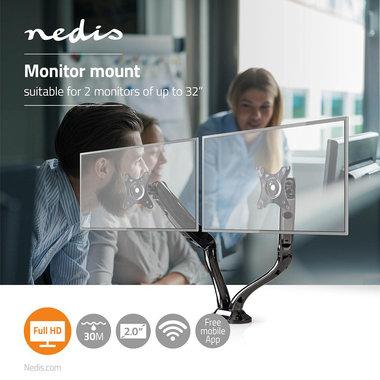 Bureau-monitorsteun | Dubbele monitorarm | Full-motion | 10 - 32