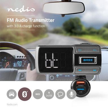 FM-Transmitter voor in de Auto | Bluetooth® | Bass Boost | microSD-Kaartsleuf | Handsfree Bellen | Spraakbediening | 3,0 A / 2,4 A