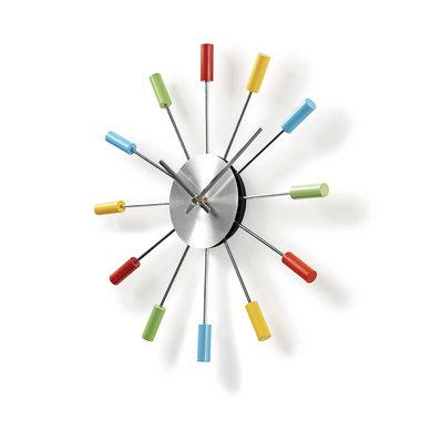 Ronde wandklok | Diameter 34 cm | Kleurig & Leuk | Zilver & gelakt