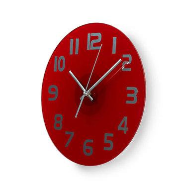 Ronde wandklok | Diameter 30 cm | Eenvoudig te lezen cijfers | Helder-rood
