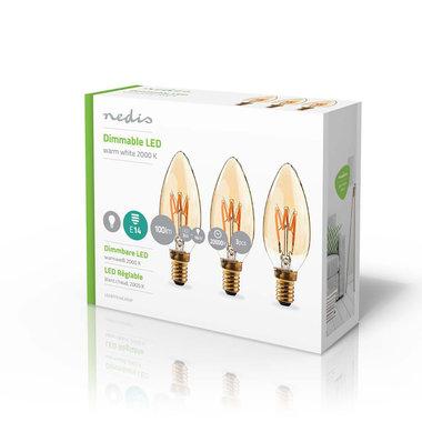 Dimbare LED-Filamentlamp Retro E14 | Kaars | 3 W | 100 lm - 3-Pack
