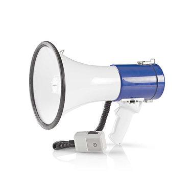 Megafoon   25 W   Bereik van 1500 m   Afneembare Microfoon   Wit/Blauw