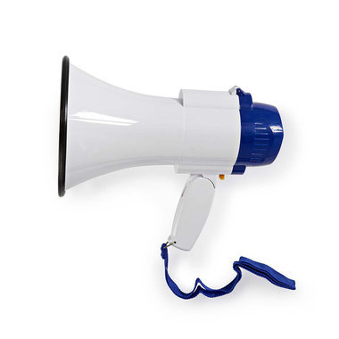Megafoon   10 W   Bereik van 250 m   Ingebouwde microfoon   Wit / blauw