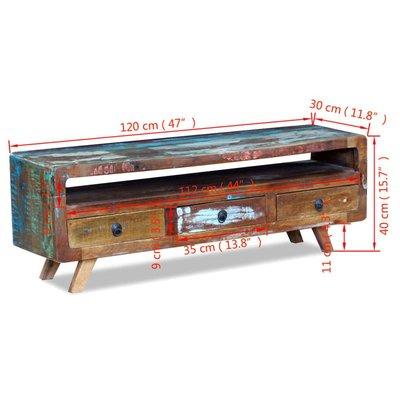 Uniek Tv-meubel met 3 lades massief gerecycled hout