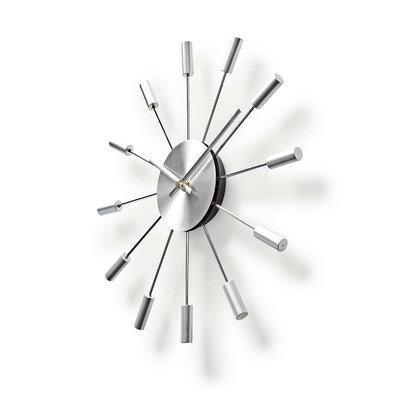 Ronde wandklok | Diameter 34 cm | Zilver