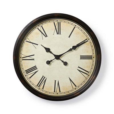 Ronde wandklok | Diameter 50 cm | Antieken stijl | Zwart
