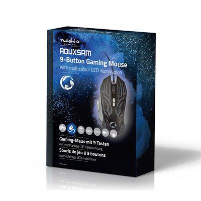 Gaming-muis | Met kabel | Verlicht | 4000 dpi | 9 knoppen