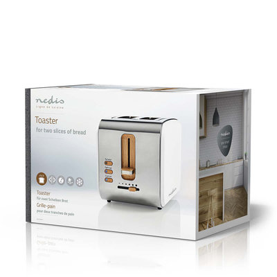 Broodrooster | 2 brede sleuven | Soft-touch | Wit
