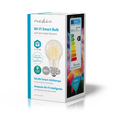 Wi-Fi smart LED-lamp met filament | E27 | A60 | 5 W | 500 lm | Helder