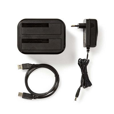 Harde Schijf-Dockingstation   USB 3.0   SATA   Dual Bay   met Voedingsadapter