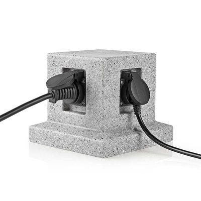Tuinzuil - Stekkerdoos   4x Stopcontact   2,00 m Beton-look