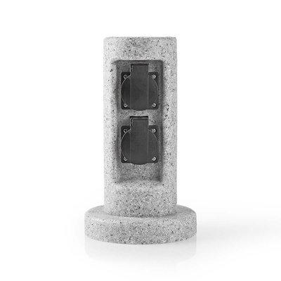 Tuinzuil - Stekkerdoos   2x Stopcontact  Beton-look