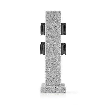 Tuinzuil - Stekkerdoos   4x Stopcontact   Beton-look