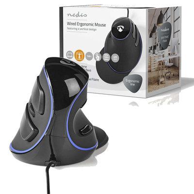 Ergonomische  bedrade muis | 1600 dpi | 6-Button | Zwart
