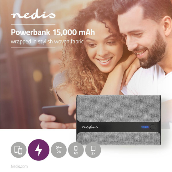 Powerbank met Stoffen Bekleding   15.000 mAh   2x USB-A 2 A (Max.)   Grijs