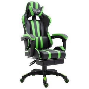 Bureaustoel Met Voetsteun.Gamingstoel Bureaustoel Met Voetensteun Groen Zwart