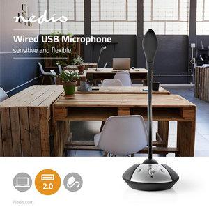Hoge kwaliteit, gevoelige desktop microfoon - USB - Zwart/Grijs - Noise Cancelling