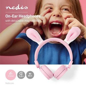 Bedrade Koptelefoon | 1,2 m Ronde Kabel | On-Ear | Afneembare magnetische oren | Robby Rabbit | Roze