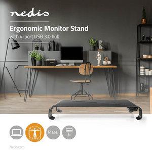 Ergonomische Multifunctionele Standaard | USB 3.0 Hub | 4-Poorts | Zwart