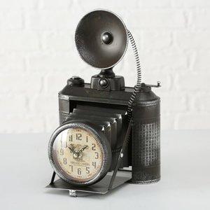 Tafelklok industriële camera - H33cm 1xAA 1,5V - metaal zwart