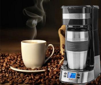 1-Kops Koffiezetapparaat - Dubbelwandige Reisbeker - 0,42 L - Timer
