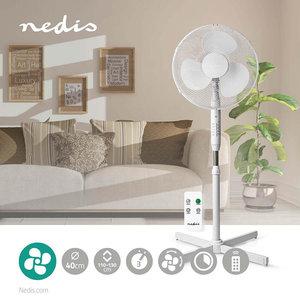 Staande Ventilator Diameter: 40 cm - Minimaal geluid -  3 Snelheden - Zwenkfunctie - Verstelbare hoogte - Uitschakeltimer - Afstandsbediening