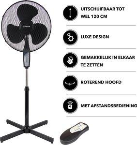 Luxe statiefventilator met afstandsbediening - 40 cm - Hoogte instelbaar tot 120 cm. - Zwart