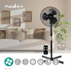Staande Ventilator - Zwart - Diameter: 40 cm - Minimaal geluid -  3 Snelheden - Zwenkfunctie - Verstelbare hoogte - Uitschakeltimer - Afstandsbediening