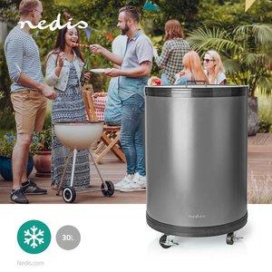 Party Cooler - 30 Liter - Regelbare thermostaat - Glazen top - Handige draadmand - Zwenkwielen