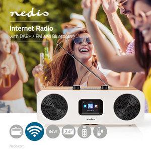 "Radio Tafelmodel - AM / FM - Batterij / USB Gevoed - Digitaal - Scherm grootte: 1.6 "" - Zwart-Blauw Scherm - Bluetooth® - Wekkerklok - Bruin/Zwart"