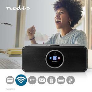 "Internetradio Tafelmodel - Bluetooth® / Wi-Fi - FM / Internet - 2.4 "" - Kleurenscherm - 42 W - Afstandbestuurbaar - App-gestuurd - Koptelefoonoutput - Wekker - Slaaptimer"