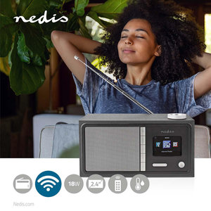 "Internetradio Tafelmodel - Bluetooth® / Wi-Fi - FM / Internet | 2.4 "" - Kleurenscherm - 18 W - Afstandbestuurbaar - App-gestuurd - Koptelefoonoutput - Wekker - Slaaptimer"