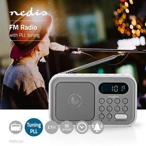 """FM-Radio Draagbaar Model - Batterij Gevoed / Netvoeding - Digitaal - Scherm grootte: 1.2 """" - Zwart-Wit Scherm - Koptelefoonoutput - Wekker - Slaaptimer - Grijs / Wit"""