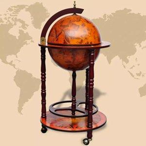 Elegante Globebar in de vorm van een wereldbol - eucalyptushout